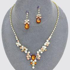 Multicolor Topaz Teardrop Crystal Rhinestone Bubble Necklace Bib Earring Set #Unbranded #Bib