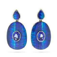 SILVIA FURMANOVICH Opal Plaque Earrings 18 carat gold, diamond, tanzanite and opal earrings.
