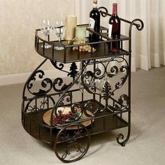 You'll fall in love with the Stamford Serving Cart. Useful metal furnishing features top and bottom trays and a beverage holder on the top near the handles. Cute Furniture, Iron Furniture, Home Decor Furniture, Accent Furniture, Furniture Design, Home Room Design, Dining Room Design, Wine Wall Decor, Cocina Shabby Chic