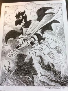 "Donald Duck - ""Paperinik nella terra del vampiro"" - Pagina - Catawiki Illustrations And Posters, Terra, Batman, Superhero, Disney, Fictional Characters, Illustrations Posters, Fantasy Characters, Disney Art"