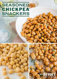 Whip up a simple, yet delicious snack with this seasoned chickpea snacker recipe from @SweetPaul. To make, coat chickpeas in olive oil and salt, toss them in the oven for 30 minutes at 400 degrees and then top with your choice of herbs and spices.