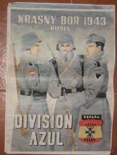 PRECIOSO CARTEL DIVISION AZUL. AUTENTICO 38X42 CM. DIVISION AZUL KRASNY BOR 1943.. (Militar - II Guerra Mundial) Division, Ww2 Posters, German Army, Historical Pictures, Luftwaffe, Armed Forces, World War Ii, Vintage Posters, Japan