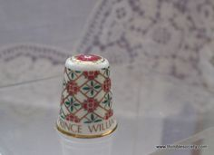Spode china thimble, with transfer decoration, 'H.R.H Prince William of Wales' commemorating his birth in August 1982.