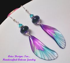 Fantasy Fairy Wing Earrings in Purple and by ariesdesignstoo