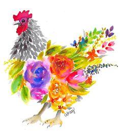 Watercolor Loose Florals Chicken Print Watercolor Loose Florals Chicken Print by LisaGrayCreates on Chicken Painting, Chicken Art, Chicken Animal, House Painting, Watercolor Artwork, Floral Watercolor, Watercolor Trees, Watercolor Artists, Watercolor Portraits