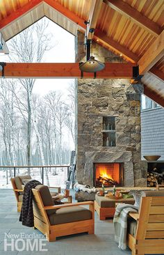 A roaring fire and a cozy throw or two turn a covered terrace into a perfect spot for après-ski relaxation.