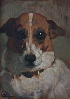 Sporting Art Antique Oil Painting Dog Terrier By Artist Nina Colmore - http://www.busaccagallery.com/catalog.php?catid=132&itemid=6176&page=1#