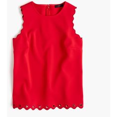 J.Crew Petite Scalloped Top With Grommets ($84) ❤ liked on Polyvore featuring tops, shirts, tanks, j crew, j.crew, petite, red top, tall tops, j crew shirt and red shirt