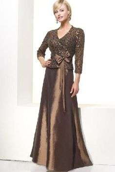 Long v-neck A-line chocolate satin 3/4 length sleeves sequins belt bowknot Mother Of The Bride Dress MBD1022099