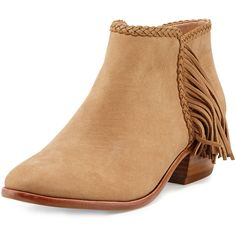 Sam Edelman Paige Leather Fringe Bootie (115 BAM) ❤ liked on Polyvore featuring shoes, boots, ankle booties, honey, short boots, bootie boots, block heel booties, fringe boots and leather bootie