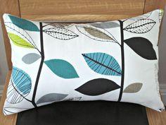 Lumbar pillows teal blue lime green gray grey leaf by VeeDubz