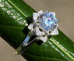 CERTIFIED - UNIQUE Flower Rose Diamond Engagement or Right Hand Ring - 2.00 carat - Plain band - fL02. $18,173.00, via Etsy.