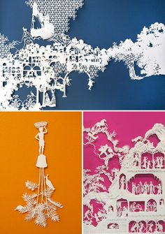 Artworks by Emma Van Leest – top artwork (on blue) – Within, 2010, archival paper, 64x96cm.  Bottom left – Transcend, 2008, archival paper, 25 x 13 cm.  Bottom right – Attainment