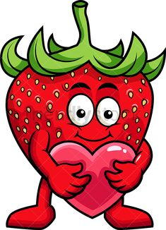 Strawberry Mascot Hugging Heart Icon: Royalty-free stock vector illustration of a strawberry cartoon character holding a red heart in its arms. Art Drawings For Kids, Colorful Drawings, Art For Kids, Fruit Cartoon, Cartoon Art, Strawberry Pictures, Strawberry Fruit, Good Morning Hug, Vegetable Cartoon