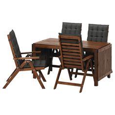 ÄPPLARÖ Table + 4 reclining chairs, outdoor - Äpplarö brown stained/Hållö black - IKEA