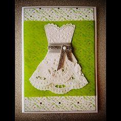 Wedding card with doilie dress  / handmade