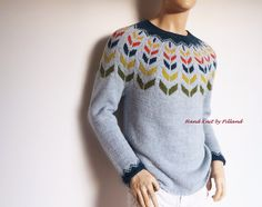 Multicolored Men's sweater Hand knit men's sweater Colorful knitwear gift for men Ready to ship SAMPLE SALE by Pilland on Etsy