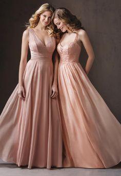 Blush Chiffon Sleeveless Bridesmaid Dress