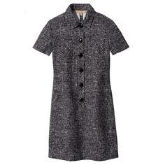 Great cut, cute fabric. Michael Kors Crosshatch-Print Polo Dress - Black & White Buttoned Dress - ShopBAZAAR