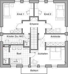 OG; Wohnfläche Schlafen 14,19 m² Ankleide 8,63 m² Kind 1 19,16 m² Kind 2 19,14 m² Kinder Dusche/WC 7,17 m² Bad 12,16 m² Empore 6,44 m² Balkon 2,00 m² Gesamt 88,89 m²