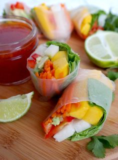Mango, Jicama and Avocado Spring Rolls with Orange Chili Sauce