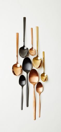 Everett cutlery in copper, black, and gold. Lenna cutlery in matt black and matt copper. More finishes available from brushed steel to bright titanium, our cutlery designs are suitable for sophisticated dinner parties or relaxed family dining.