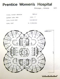 This centralized floor plan shows a center space of more importance than the rest, which connects to each of the other spaces around it. In this plan, however, you can see four separate centralized plans, connected at the middle, creating a large centralized plan made up of smaller centralized plans.