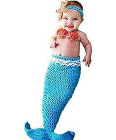M&G House Fashion Newborn Girl Baby Handmade Crochet Knitted Photo Photography Prop Mermaid Tail Romper Outfits+1 Soft Bib
