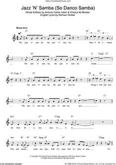 Jobim - Jazz 'n' Samba sheet music (fake book) [PDF] Virtual Sheet Music, Jazz Sheet Music, Digital Sheet Music, Guy Lombardo, Complete Music, Lead Sheet, Falling In Love Again, Samba, Lyrics