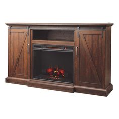 Home Decorators Collection Chestnut Hill 68 in. Media Console Electric Fireplace in Rustic Walnut