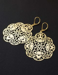 Jewelry Dangle Earrings Matte gold plated