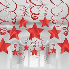 Red Star Hanging Swirl Decorations - 60cm 30pk Includes 30 swirl decorations each measuring 60cm 23 6 long Decoration features a die-cut foil star