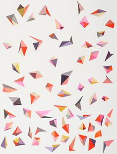 Jen Wink's abstract triangular patterns of gouache on paper, Applied Relativity 2, 2013. Photo courtesy of Uprise Art (New York)