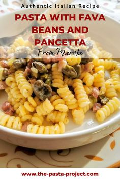 A delicious, traditional and easy-to-make pasta recipe from Central Italy. Perfect for family meals, weekdays meals and special occasions meals. Bring authentic Italian flavours to your table with this fava beans and pancetta pasta dish! #traditionalrecipe #easyrecipe #pastarecipe #italianpasta #thepastaproject Broad Bean Recipes, Pancetta Pasta, Italian Pasta Recipes, Fava Beans, Easy Meals For Kids, Eating Raw, How To Cook Pasta, Pasta Dishes, Family Meals