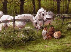 Mary Haggard (c) Back Fence Friends - another amazing painting - Arabian horses and sheltie sheepdog with friends Horses And Dogs, Cute Horses, Horse Love, Wild Horses, Horse Artwork, Horse Paintings, Pur Sang, Beautiful Arabian Horses, Arabian Art