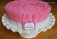 Ruffled Crepe Paper Pink and White by PartyPatisserie on Etsy, $13.00