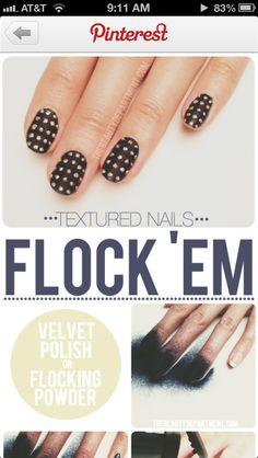 Velvet nails Velvet Nails, Beautiful Nail Art, Flocking, Pretty Nails, Polish, Beauty, Cute Nails, Vitreous Enamel, Belle Nails