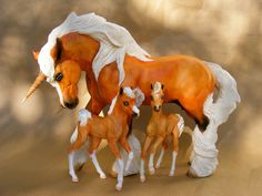 "Custom/Cm OOAK  ""THE TWINS""  Fantasy Unicorn Mare & Her Doll Babies    by PZ14"