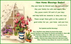 NEW HOME BLESSINGS BASKET with printable poem and what to put in the basket and why (rice, bread, salt, sugar, candles & wine) along with other ideas to place in basket.