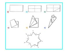 create this wonderful 7-pointed star as a related activity. Here are step-by-step instructions.  1) Fold a square piece of paper in half.  2) Fold it in half again. Unfold. Fold the paper in half lengthwise. Unfold.  3) Fold the bottom right rectangle in half diagonally. Unfold. 7 Pointed Star, Waldorf Math, Homeschool Math, Step By Step Instructions, Teaching, Activities, Create, Paper, Education
