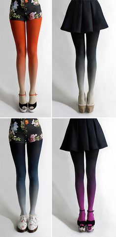 ".:* L - why have i never seen these awesome ombre by tights before?![from designvagabond: ""Lovely Ombré tights by Tiffany Ju. via Design*Sponge""]"