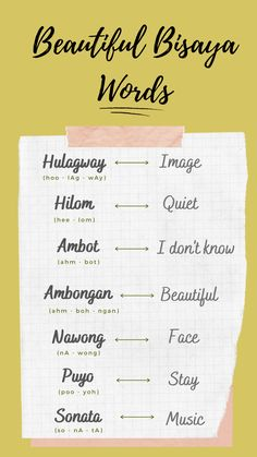 Learn Bisaya with The Learn Bisaya Project. #words #learnbisaya #bisaya #cebuano #philippines #filipino #learnlanguage #dialect #beautifulwords #newwords #thoughts Tagalog Words, Filipino Words, Small Finger Tattoos, Philippines Culture, How To Pronounce, Passion Project, Pinoy, Woman Quotes, Languages