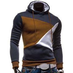Irregular Color Lump Spliced Rib Hem Slimming Hooded Long Sleeves Men's Casual Hoodie