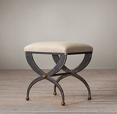 RH's 19th C. French S-Curve Upholstered Stool:French neoclassical designs from the 19th century inspired our stool, a contemporary and comfortable version of the diphros okladias used throughout ancient Greece.