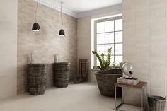 Materiały - Beżowa łazienka: 5 pomysłów na płytki ceramiczne  | Łazienka.pl