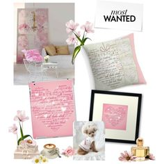 """New! Stunning Words of Love Designer Pink Gift Collection by Marie-Jose Pappas of Innocent Originals"""" by innocentoriginalsartgifts on Polyvore"""
