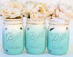 Mason Jar Decor Painted Mason Jars Painted by PaintedPaintbrush