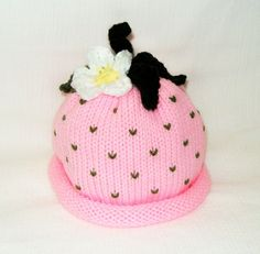 Knit Pink Strawberry Fruit Hat with Flower by LAOriginalsjustkidz, $20.00