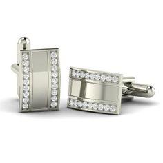 Round Diamond Cufflinks in 14k White Gold