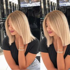 – Lisa Scheiderer – – You are in the right place about Ombre Hair balayage Here we offer you the most beautiful pictures about the Ombre Hair diy you are looking for. When you examine the – Lisa Scheiderer – –[. Blonde Hair Looks, Brown Blonde Hair, Blonde Short Hair, Super Blonde Hair, Blonde Blunt Bob, Golden Blonde Hair, Blonde Brunette, Pretty Hairstyles, Bob Hairstyles